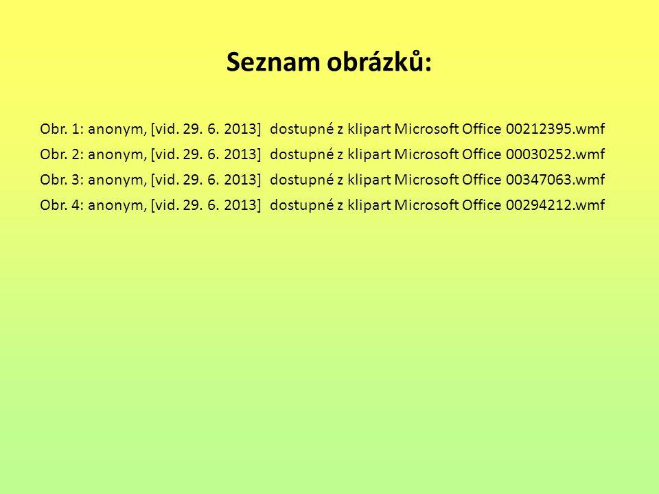 Seznam obrázků: Obr. 1: anonym, [vid. 29. 6. 2013] dostupné z klipart Microsoft Office 00212395.wmf.